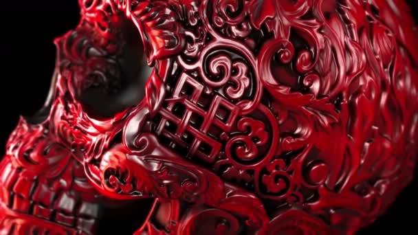 Roter Totenkopf auf schwarzem Hintergrund