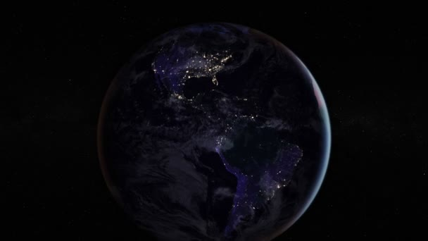 Night side of the Earth with city lights. Zoom in America countries. Elements of this image furnished by NASA