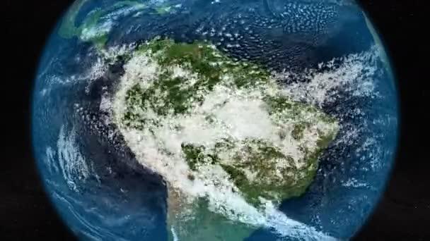 Műholdas kép Dél-Amerikáról, felhős mozgással. Elemei ezt a képet által nyújtott Nasa