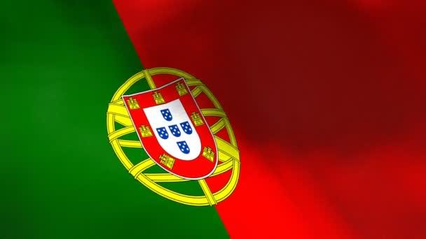 Portugália zászlót lengetett. Zökkenőmentes cgi animáció nagyon részletes szövet textúra filmes lassított felvételen. Hazafias 3d háttér ország szimbólum vagy kormányzati koncepció. Sportverseny háttere.
