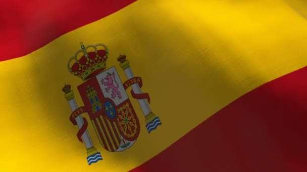Spain waving flag. Seamless cgi animation highly detailed fabric texture in cinematic slow motion. Patriotic 3d background of country symbol or government concept. Sport competition backdrop.