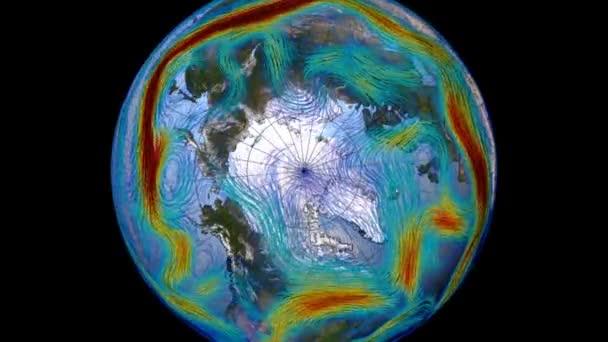 Grafische Darstellung der Winde auf der Oberfläche des Planeten Erde. Der polare Jetstream auf der Nordhalbkugel und in Europa. Elemente dieses Bildes stammen von der NASA