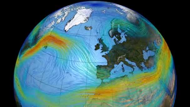 Grafické znázornění větrů na povrchu planety Země. Polární proud tryskového proudu na severní polokouli a v Evropě. Prvky tohoto snímku poskytla NASA