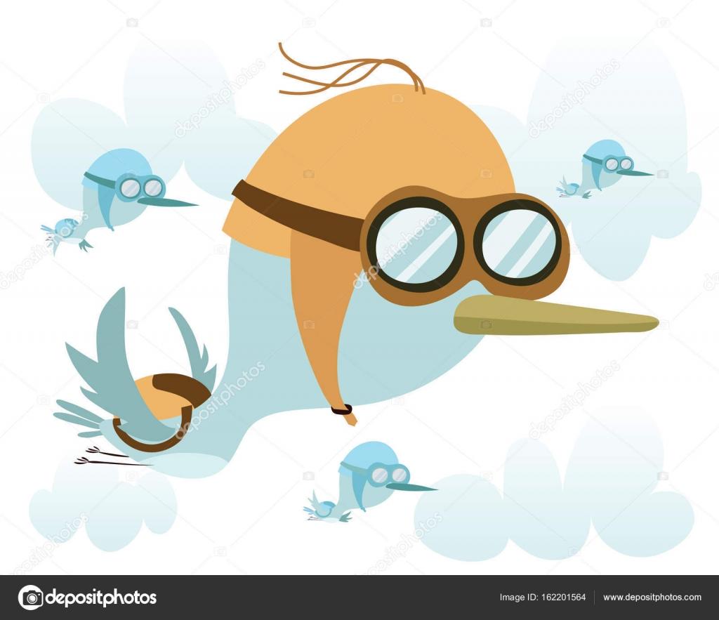 Cartone animato la migrazione degli uccelli u vettoriali stock