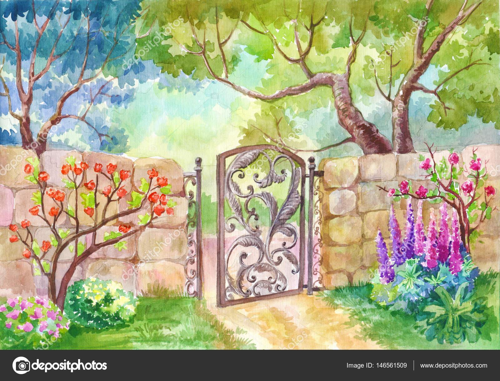 Watercolor Landscape The Gate To The Garden A Sunny Day A Gar