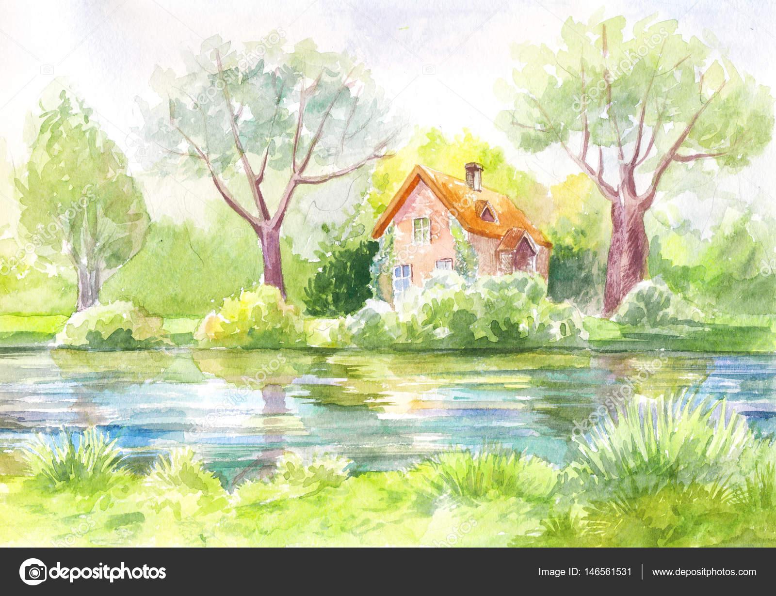 Aquarelle paysage maison sur la rivi re la for t la for Aquarelle maison