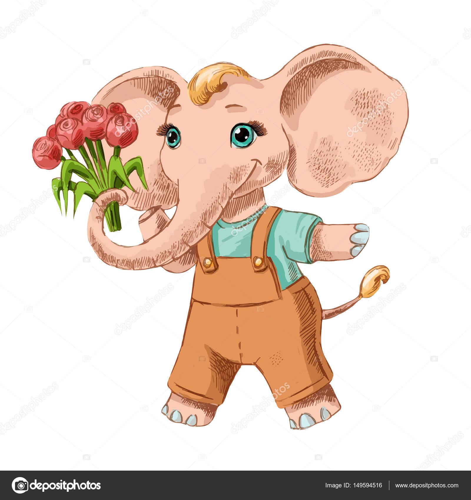 Lustige Zeichnung der kleine Elefant mit Blumen — Stockvektor ...