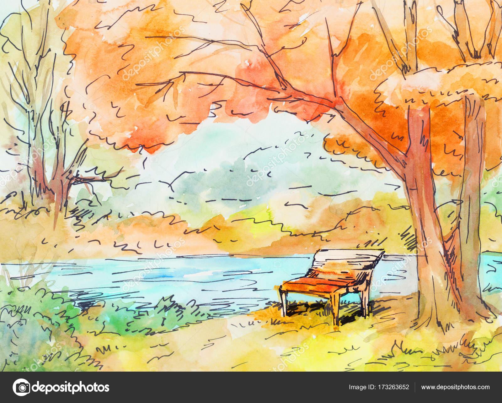 Watercolor Autumn Landscape Stock Photo C Charactersforyou