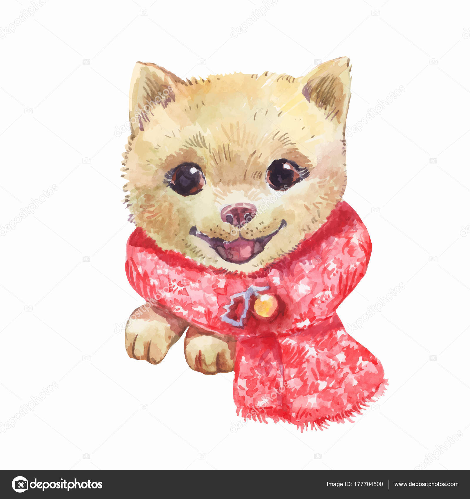 Cute Dog Christmas Watercolor Painting Stock Vector