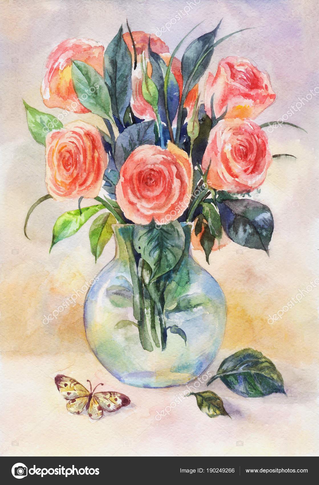 Acuarela bodegones con rosas en un florero de vidrio con for Lilium in vaso