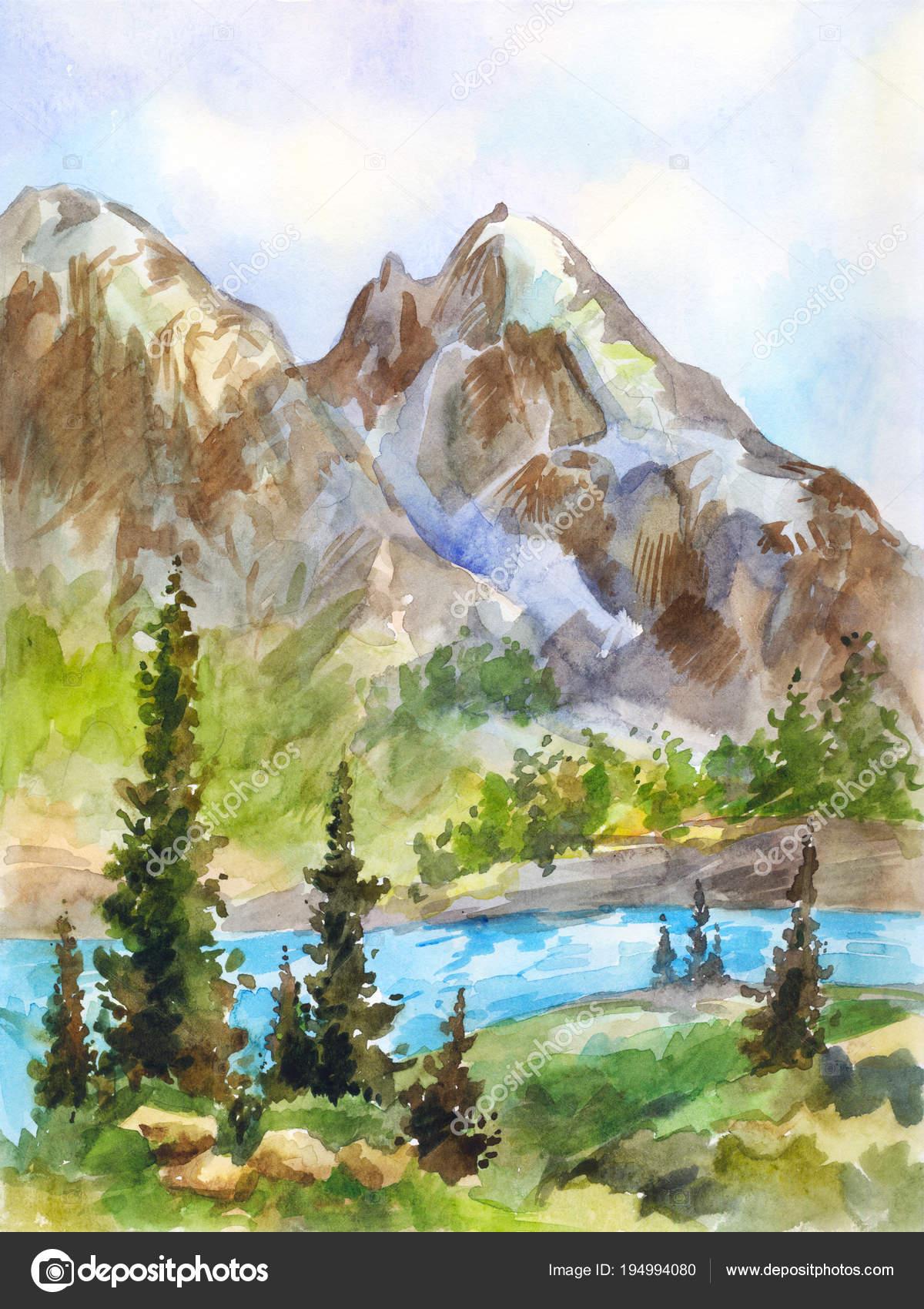 Foto Disegno Montagna Fiume Acquerello Paesaggio Di