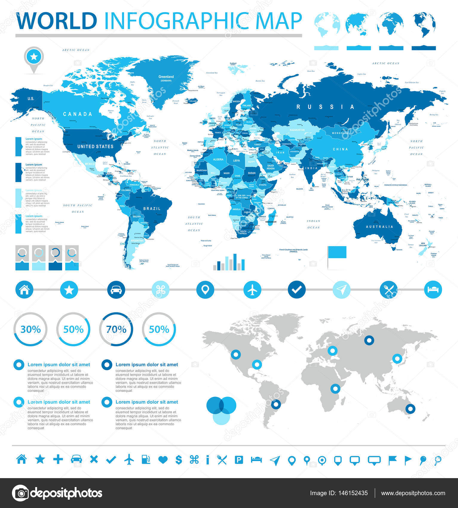 World map infographic set stock vector dikobrazik 146152435 world map infographic set stock vector gumiabroncs Image collections