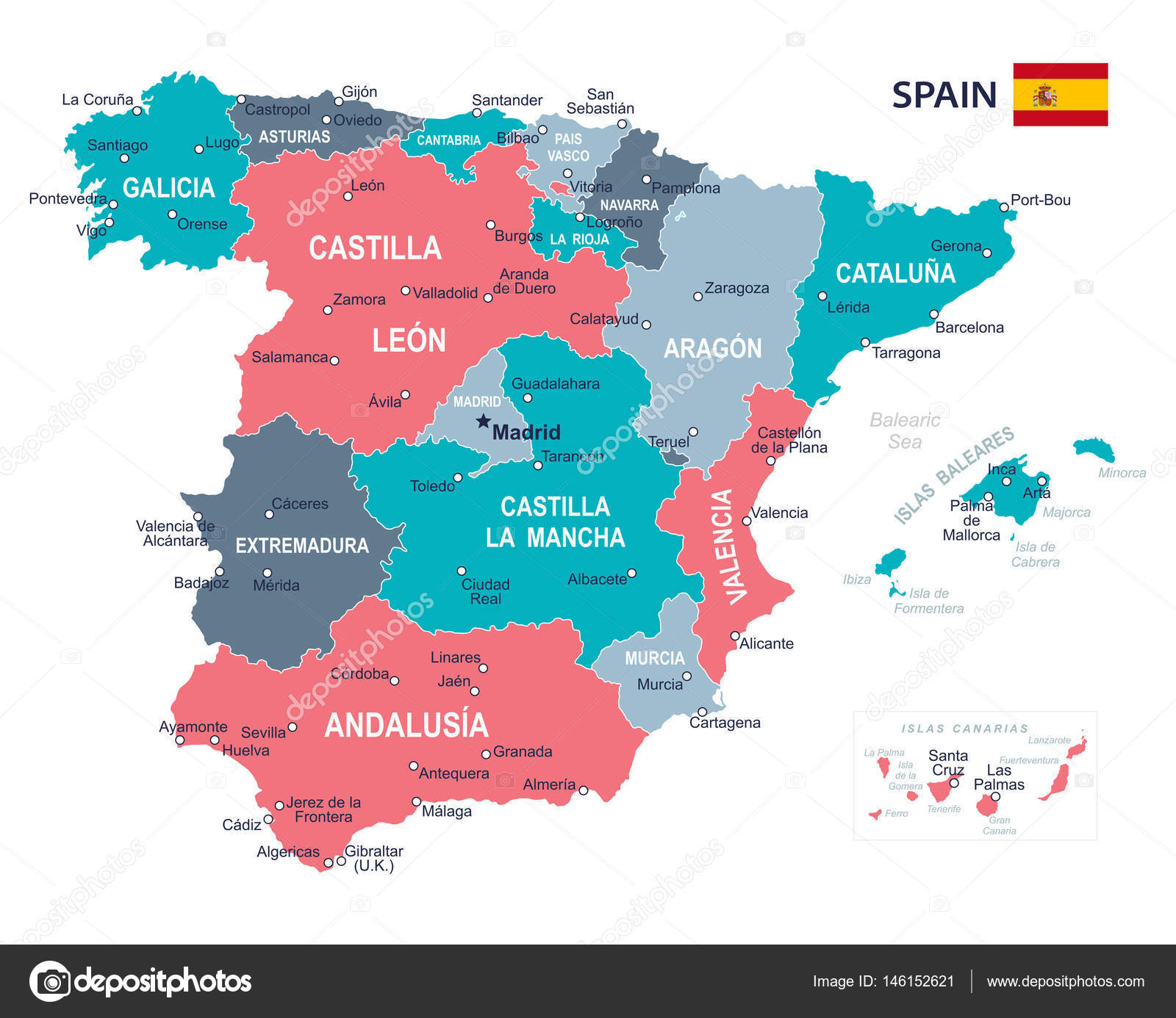 Spain map illustration Stock Vector dikobrazik 146152621
