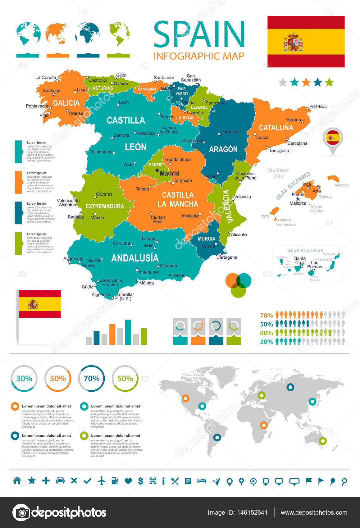 Spain map - infographic set — Stock Vector © dikozik ... on map of all of europe, map charts, map with mountains, map facebook covers, map travel, map sea monster, map google, map of america, map from europe, map virginia usa, map of african ethnic groups, map miami fl, map in spanish, map with legend, map norms, map of european ethnic groups, map in minecraft, map photography, map making, map print,