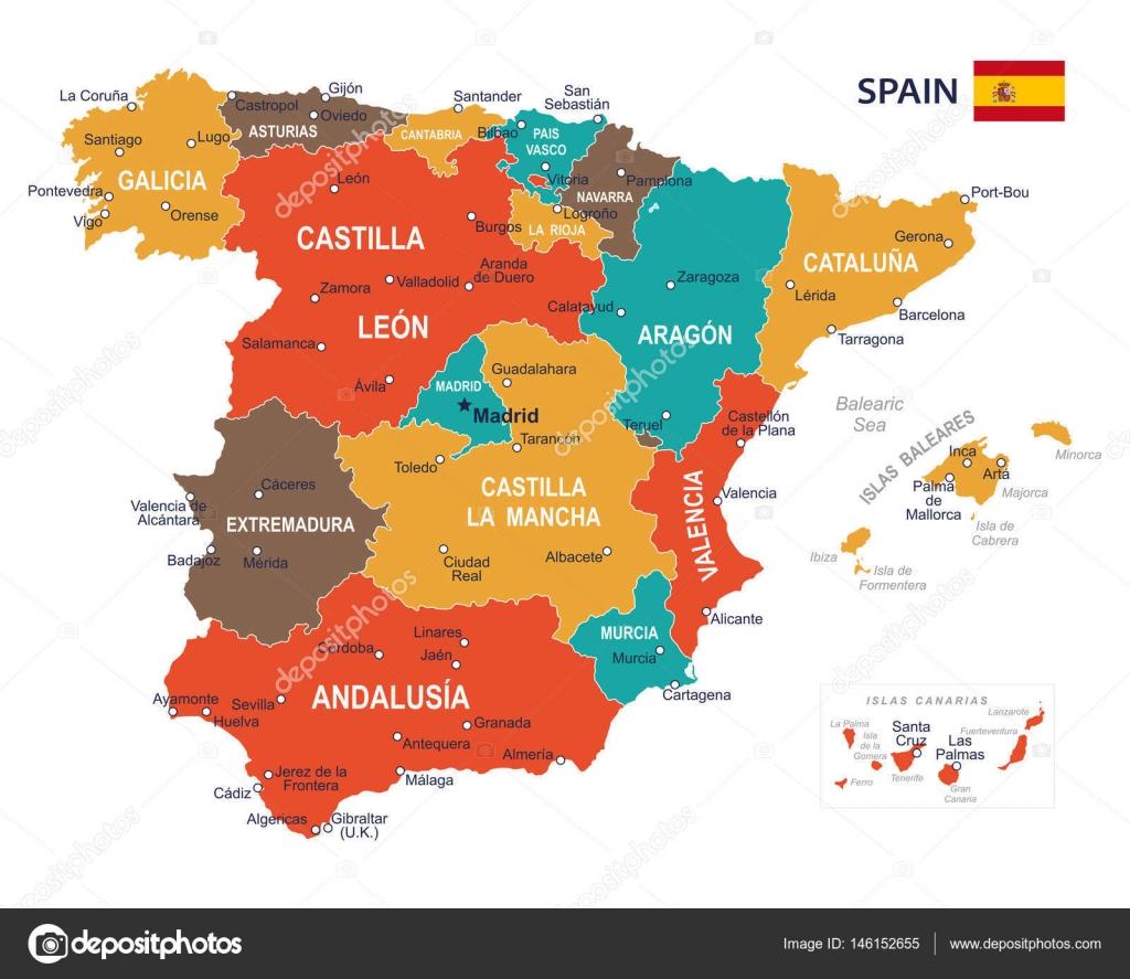 Karta Pa Spansk.Spanien Karta Illustration Stock Vektor C Dikobrazik 146152655