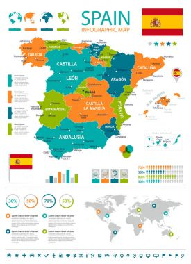 Spain map - infographic set