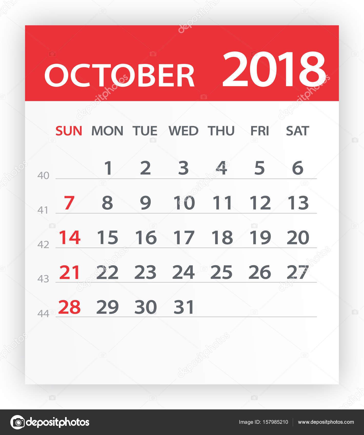 Calener October: October 2018 Calendar Red Leaf