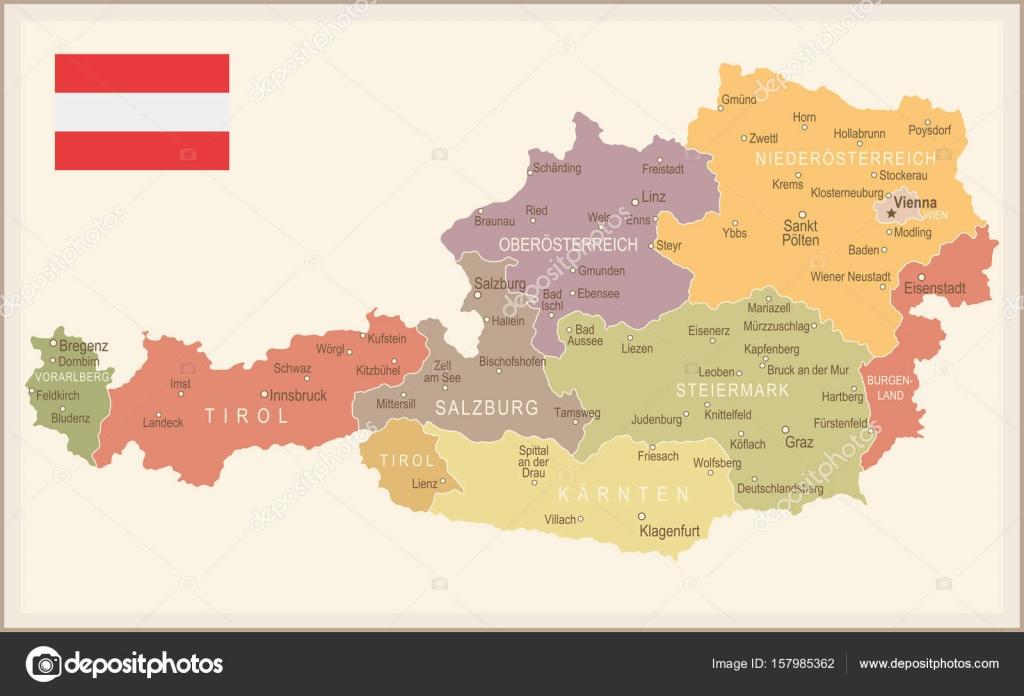ausztria térkép bludenz Ausztria   vintage Térkép és zászló   illusztráció — Stock Vektor  ausztria térkép bludenz