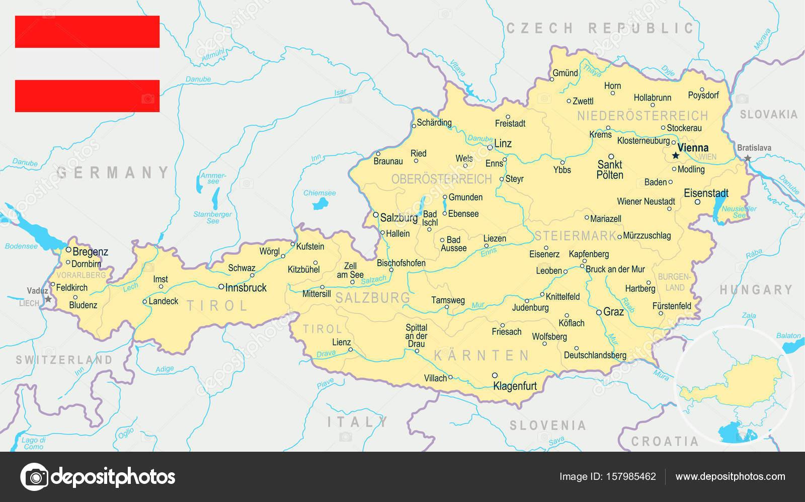 ausztria térkép vorarlberg Ausztria   Térkép, és lobogó illusztráció — Stock Vektor  ausztria térkép vorarlberg