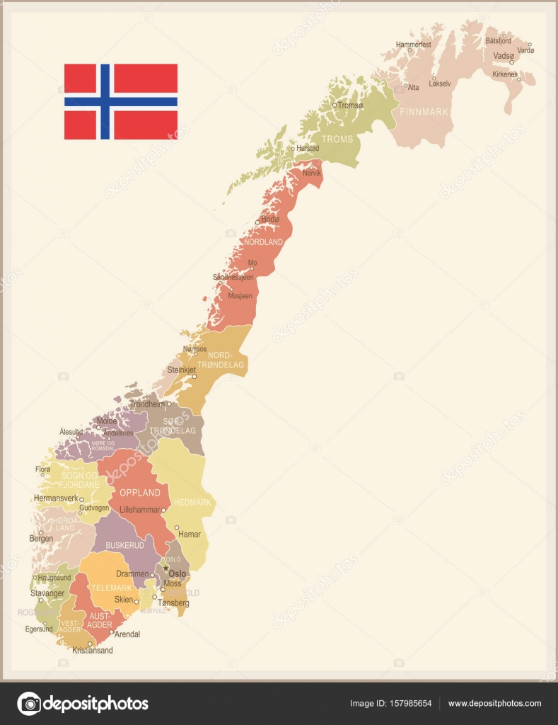 Norway vintage map and flag illustration Stock Vector