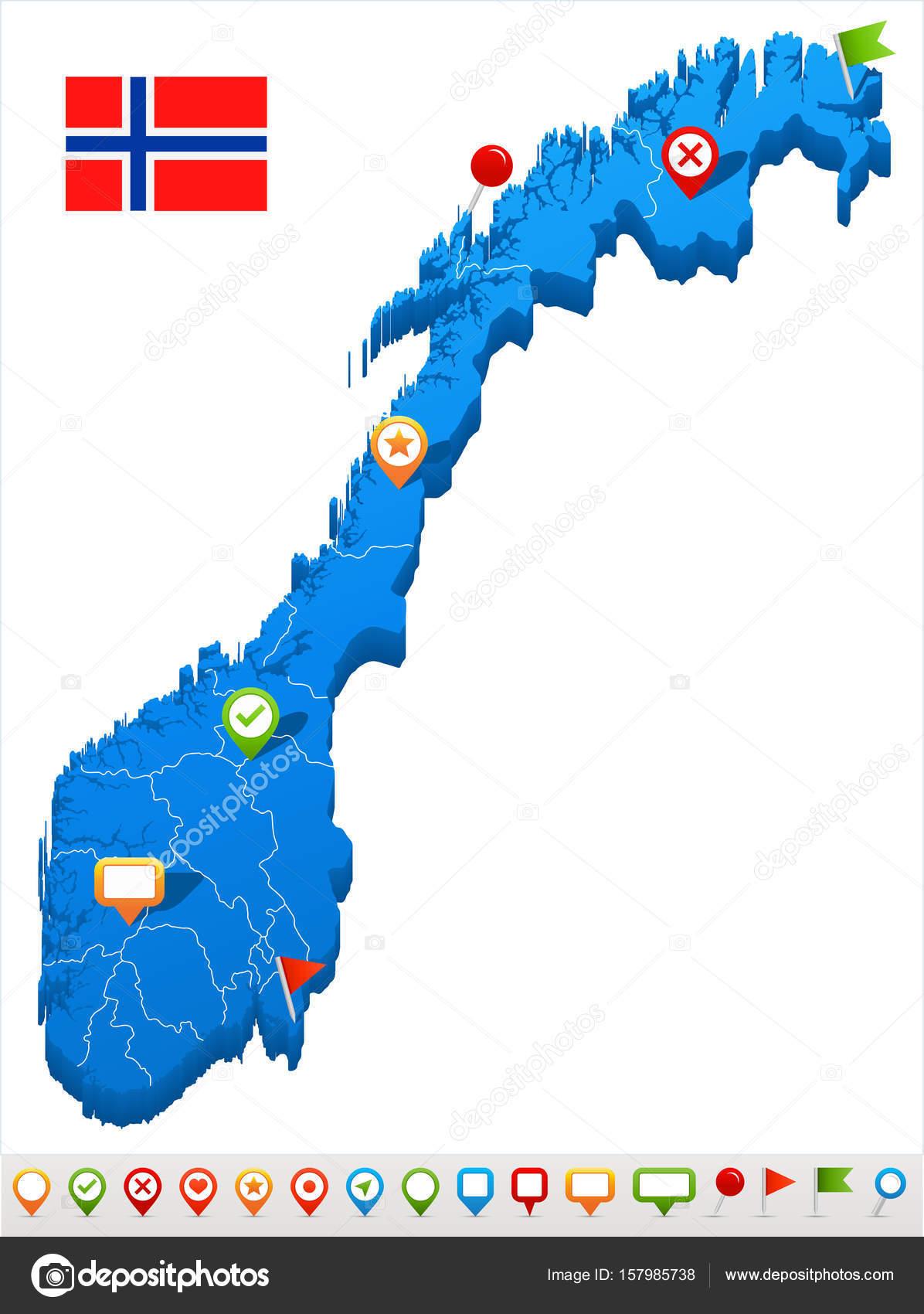 Karte Norwegen.Norwegen Karte Und Flagge Abbildung Stockvektor