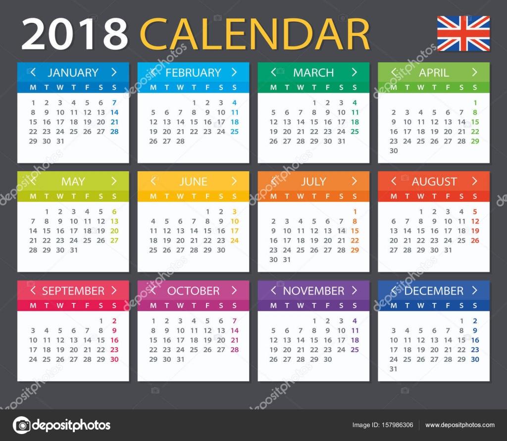 Calendar English : Calendar english version — stock vector