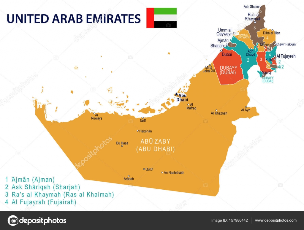 United Arab Emirates map and flag illustration Stock Vector