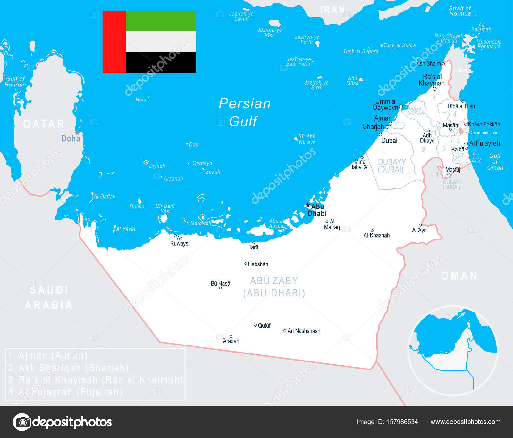 United Arab Emirates Map And Flag Illustration Stock Vector