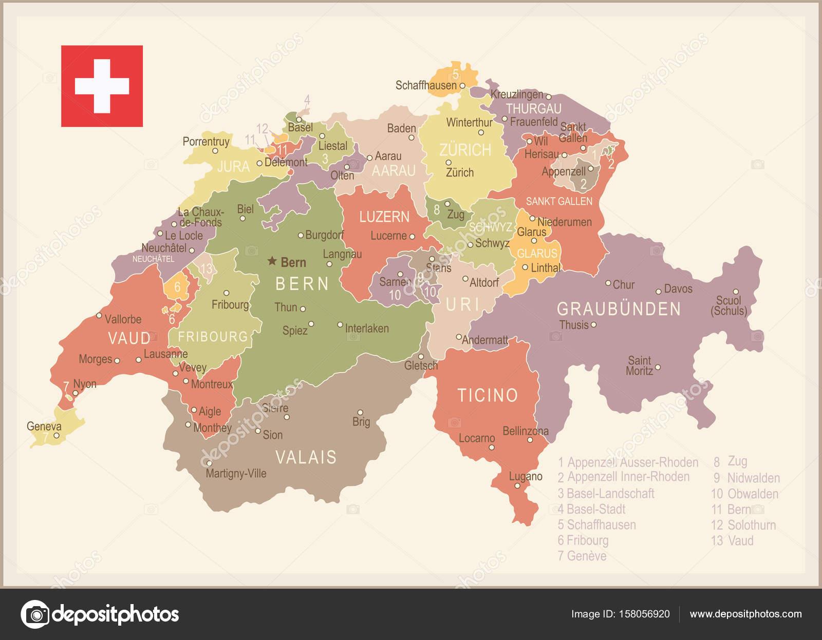 mapa da suiça Ilustração da Suíça   vintage mapa e bandeira  — Vetores de Stock  mapa da suiça