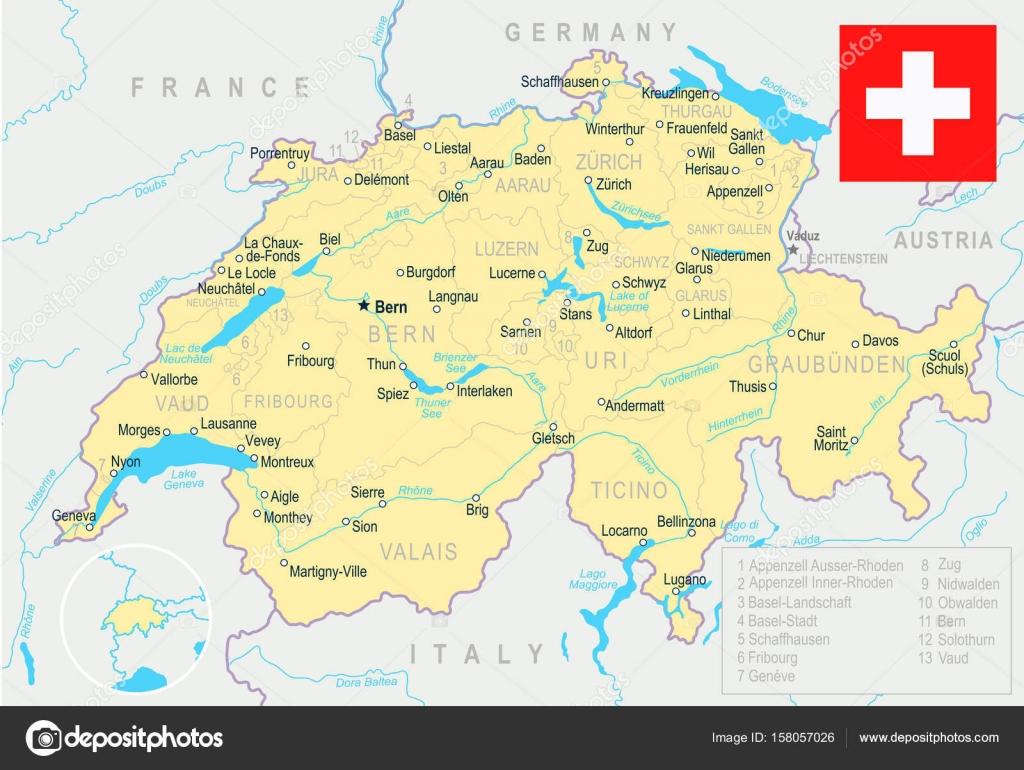 svájc térkép Svájc   Térkép, és lobogó illusztráció — Stock Vektor © dikobrazik