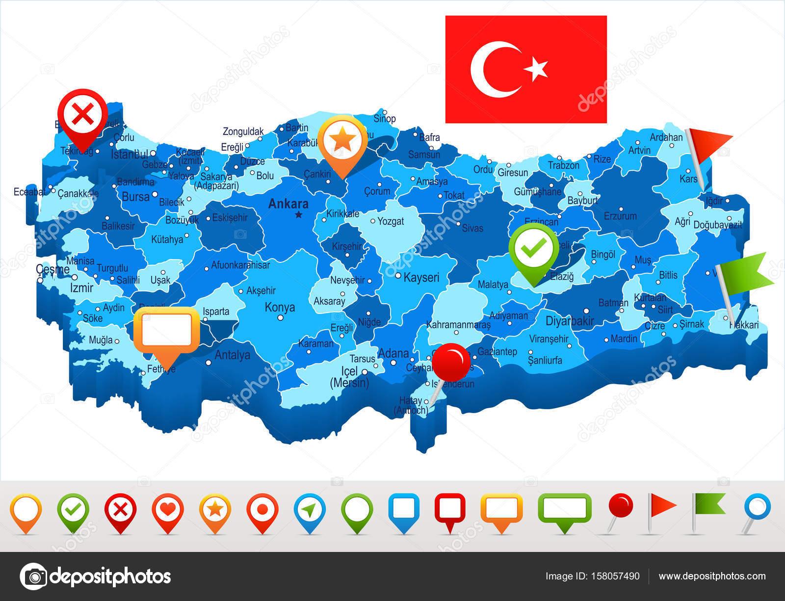 Türkiye Harita Ve Illüstrasyon Bayrak Stok Vektör Dikobrazik