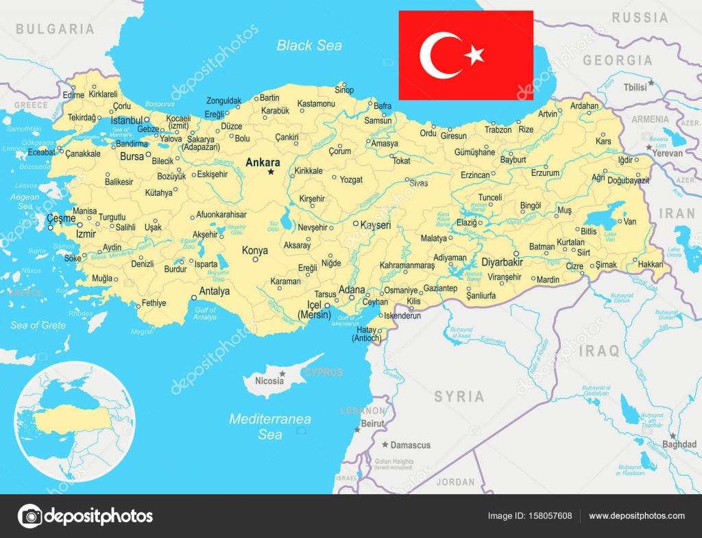 Karte Türkei.Türkei Karte Und Flagge Abbildung Stockvektor Dikobrazik
