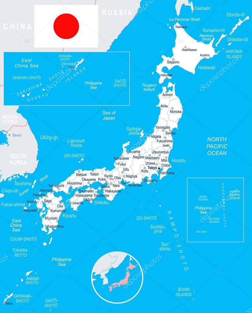 Japan Map And Flag Illustration Stock Vector