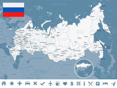 Russia - map and flag illustration