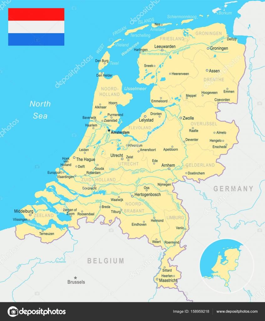 Netherlands map and flag illustration Stock Vector dikobrazik