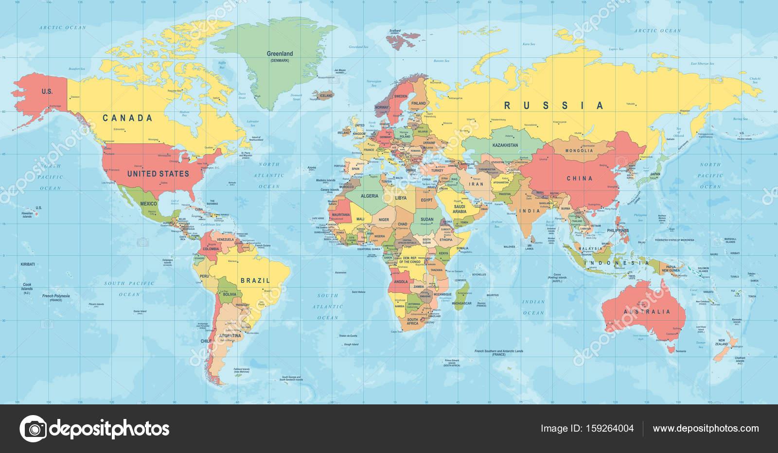 Carte Du Monde Détaillée monde carte vecteur. illustration détaillée de mappemonde — image
