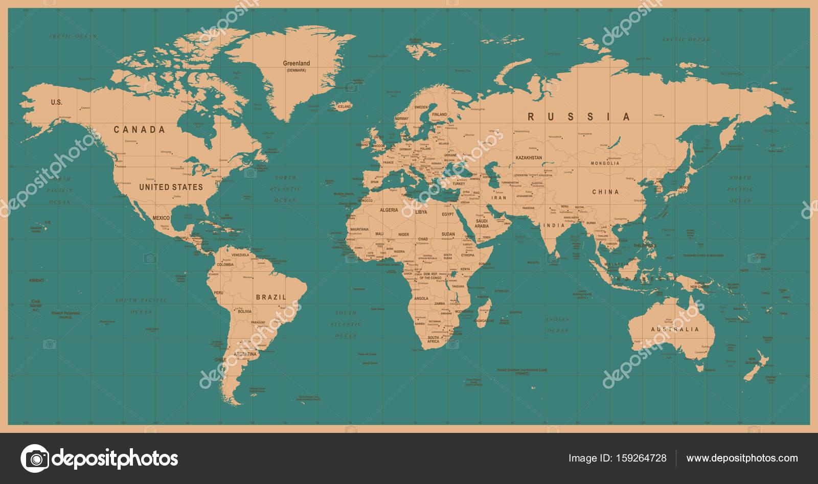 Wereld kaart vector vintage gedetailleerde illustratie van de wereld kaart vector vintage gedetailleerde illustratie van de wereldkaart stockvector altavistaventures Images