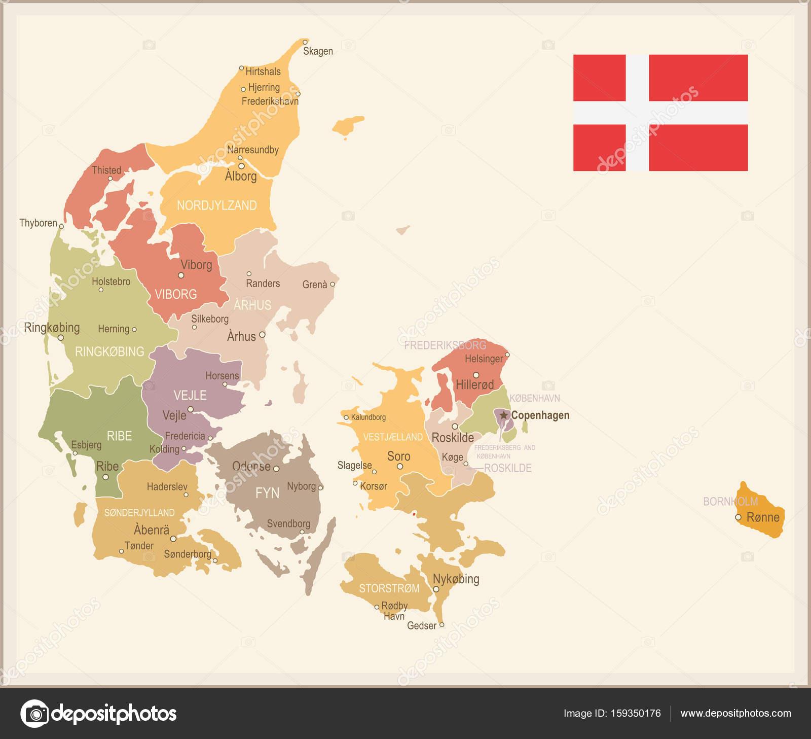 Denmark - vintage map and flag - illustration — Stock Vector ...