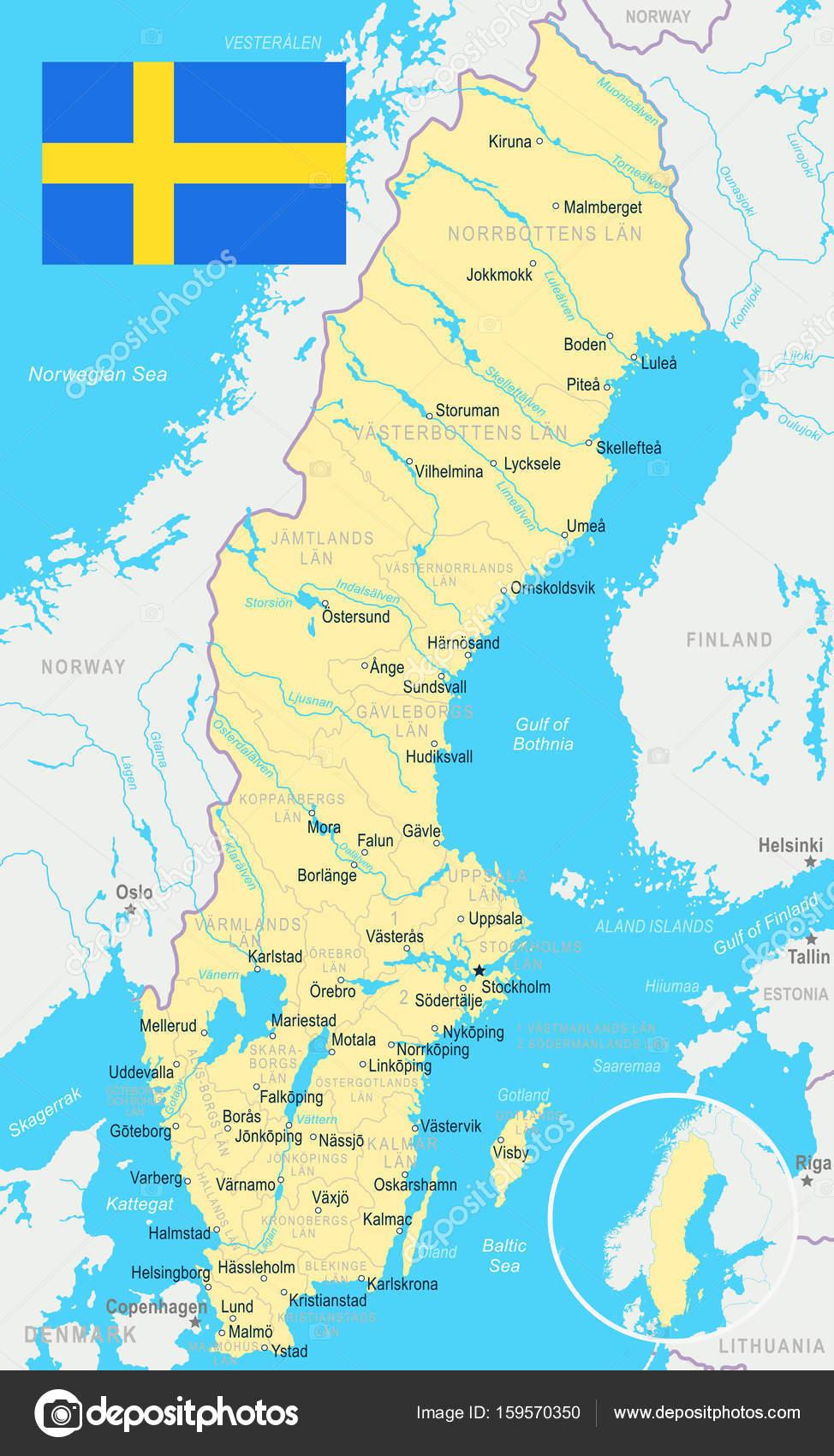 suecia mapa Suecia   mapa y bandera de la ilustración — Archivo Imágenes  suecia mapa