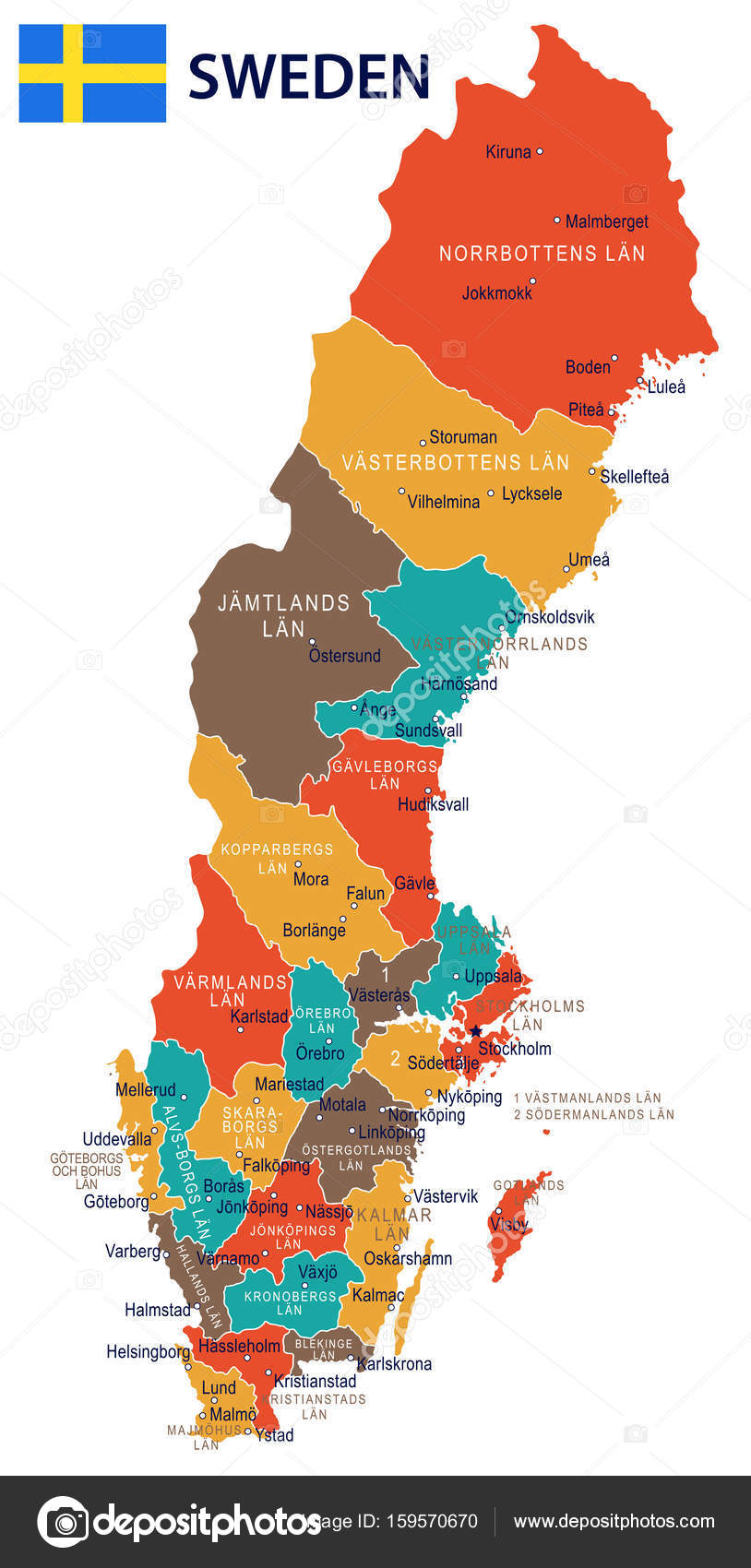 Sweden Map And Flag Illustration Stock Vector C Dikobrazik