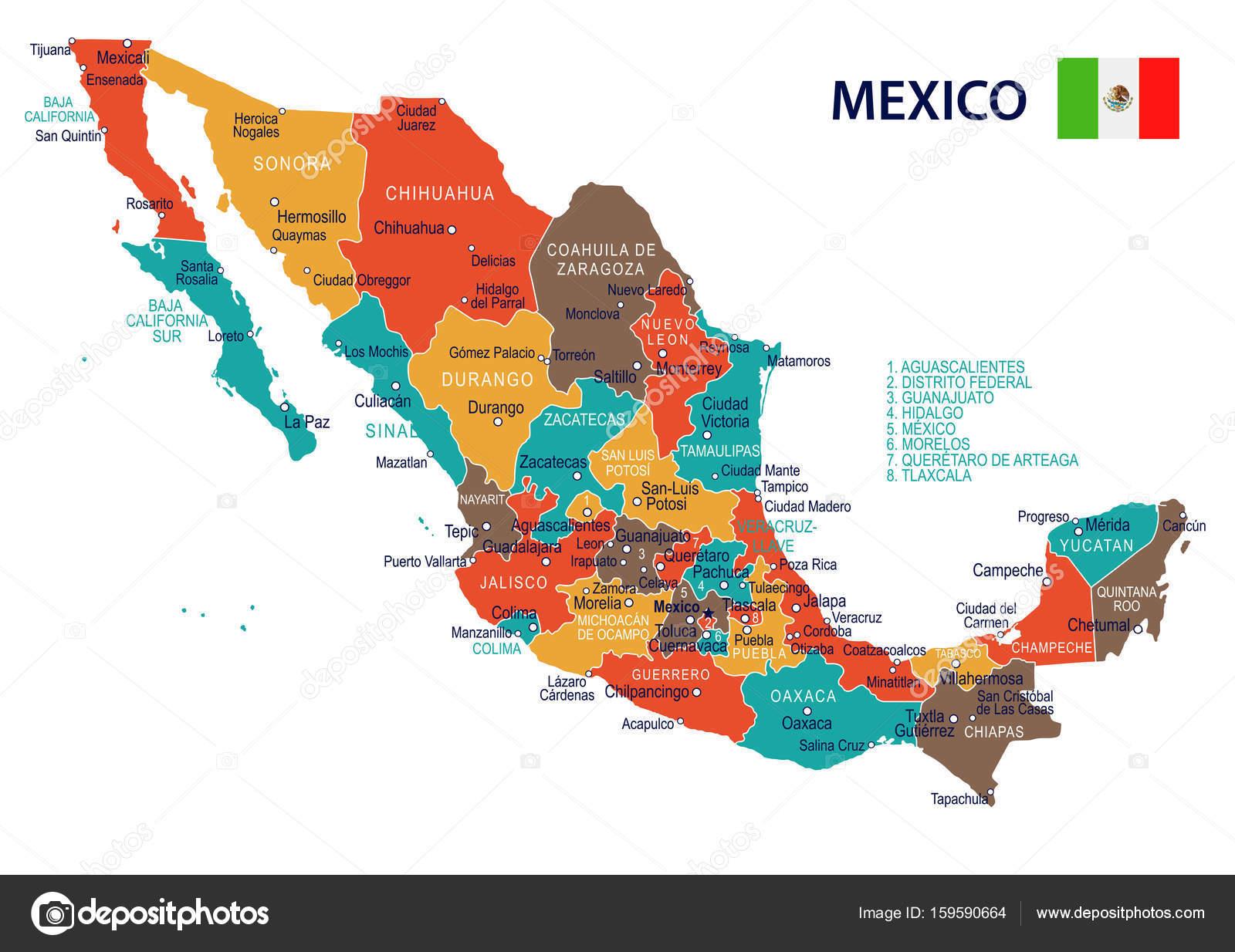 Icono Mapa Mexico Png: Mapa Y Bandera De La Ilustración