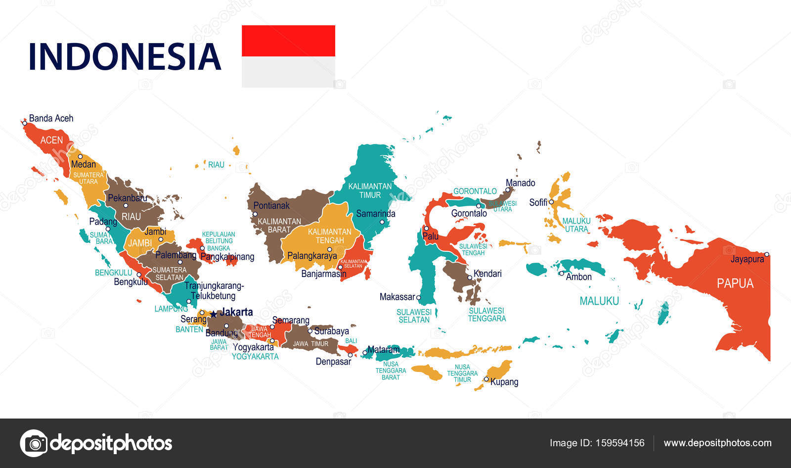 Indonesia map and flag illustration stock vector dikobrazik indonesia map and flag highly detailed vector illustration vector by dikobrazik sciox Choice Image