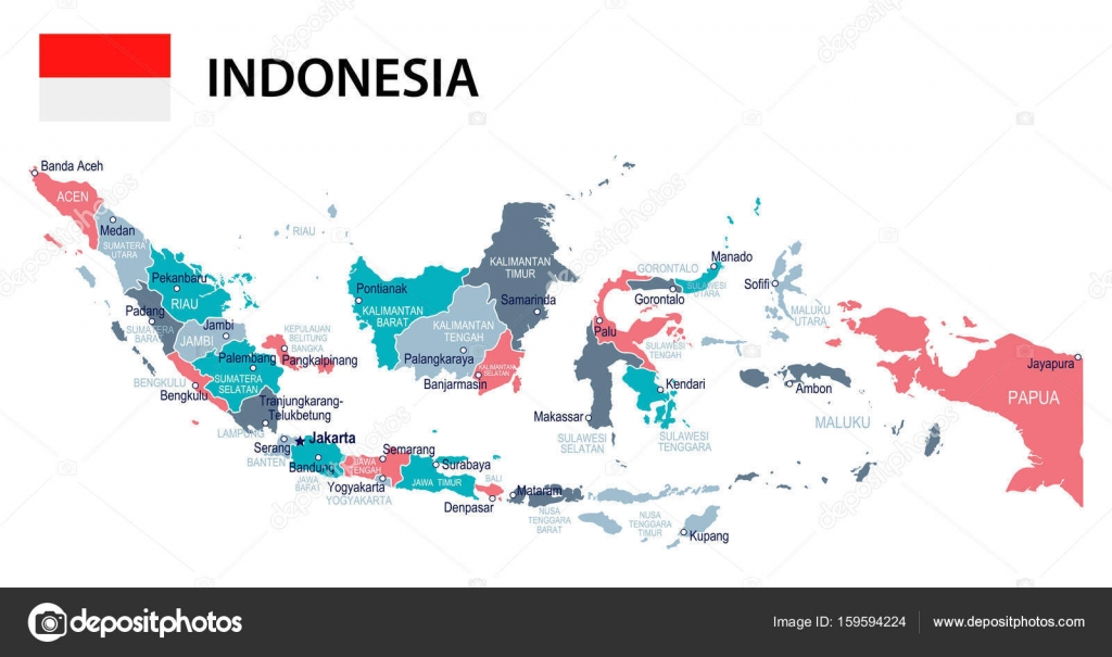 Indonesia map and flag illustration Stock Vector dikobrazik