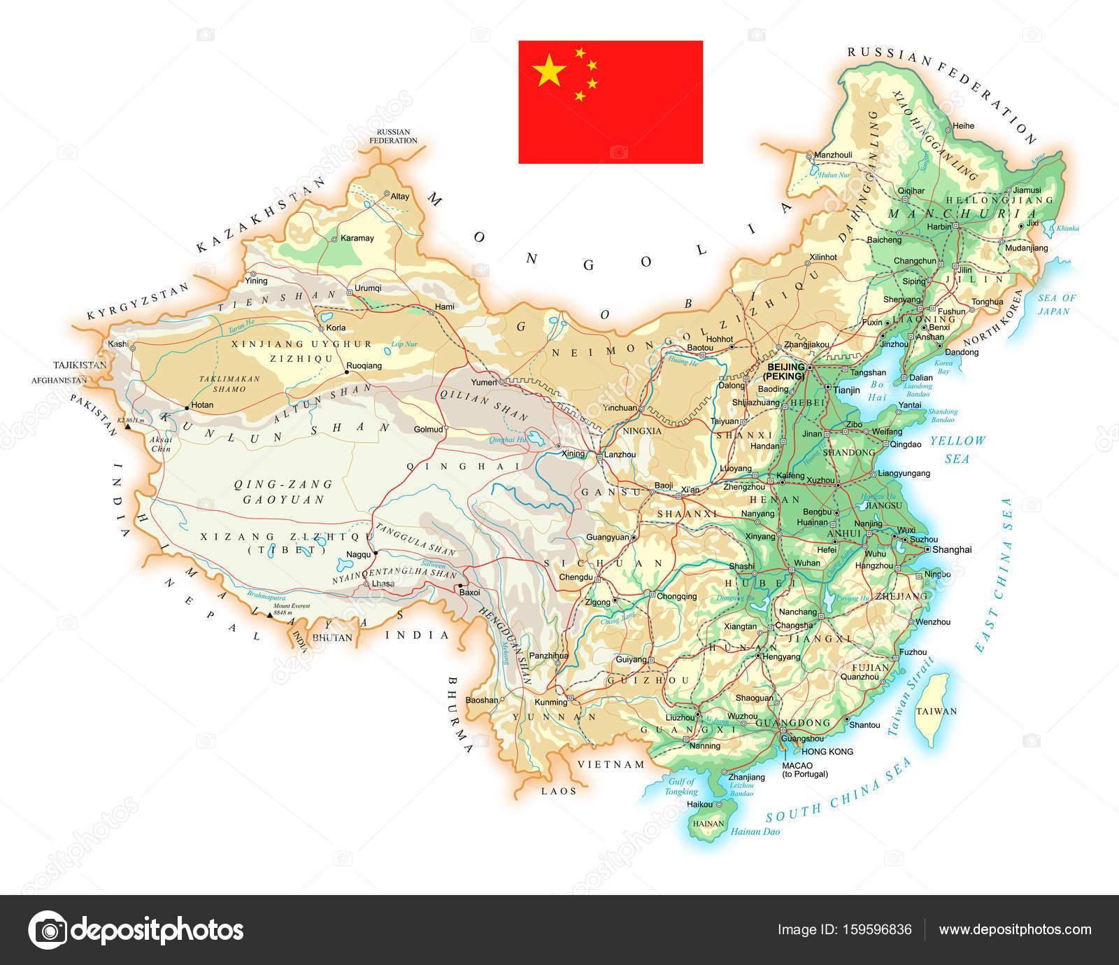 China Karte Physisch.China Detaillierte Topographische Karte Abbildung Stockvektor