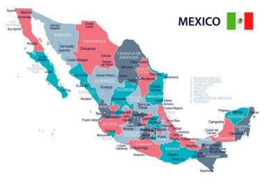 Mexico - map and flag illustration