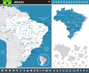 Brazil - map and flag infographic illustration