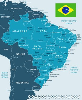 Brazil - map and flag illustration