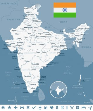 India - map and flag illustration