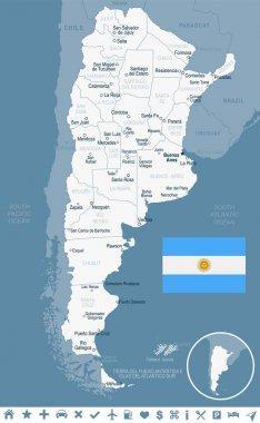 Argentina - map and flag illustration