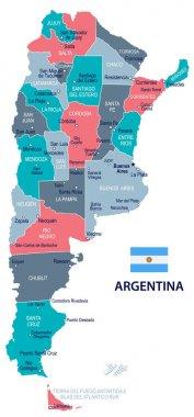 Argentina - map and flag - illustration